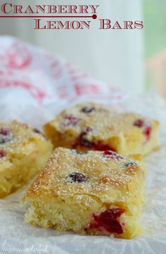Cranberry Lemon Bars - This holiday dessert recipe has the consistency of brownies and the flavor of lemon and cranberries! Perfect for Thanksgiving. #dessert #lemonbars wonkywonderful.com