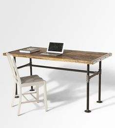 Stunning reclaimed wood desk with industrial pipe legs by Lumber Juan - Shoppe by Scoutmob: