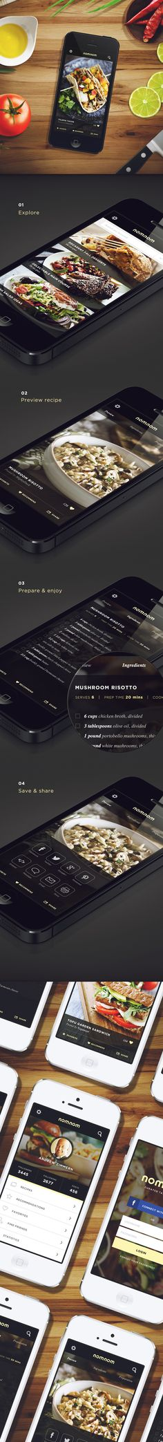 Another recipe app. I love the minimalist feel and the food being given a lot more estate space. NomNom by Marc-Antoine Roy, via Behance Web Mobile, Mobile Web Design, App Ui Design, User Interface Design, Interface App, Mobile Application Design, Mobiles, Apps, Ideas