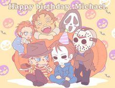 HAPPY BIRTHDAY TO MICHAEL MYERS All Horror Movies, Funny Horror, Horror Movie Characters, Scary Movies, Tv Anime, Anime Plus, Anime Manga, Arte Horror, Horror Art