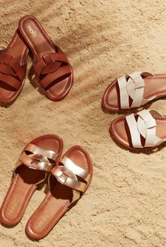 These sliders make it simple to slide right into chic summer style 'Saint' in white will look fabulous with all your warm weather looks. Featuring flat heels and cross strap detail these mule sandals will be your essential flats for the season. Mule Sandals, Flat Sandals, Flats, Chic Summer Style, Flat Mules, The Chic, Warm Weather, Fashion Shoes, Summer Glow