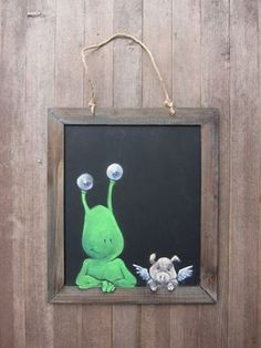 """David Zinn: """"A rare """"permanent"""" appearance of Sluggo and company on a commissioned chalkboard. I'm sure he's particularly glad to be hanging around indoors on such a hot day."""""""