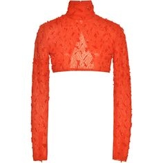 Prabal Gurung Crimson Chiffon Turtleneck With Swarovski Embroidery (€2.670) ❤ liked on Polyvore featuring tops, sweaters, red, high neck crop top, red sweater, red cropped sweater, long sleeve turtleneck and crop top