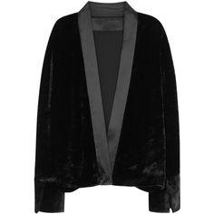 Maison Margiela Black Open-back Velvet Top - Size 10 (57,740 DOP) ❤ liked on Polyvore featuring tops, open-back tops, studded top, maison margiela and velvet top