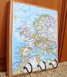 Vintage Europe Map Key Rack
