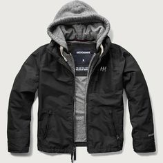Abercrombie Mens A&F All-Season Weather Warrior Hooded Jacket Mens Black Jacket| Get all your Fall and Winter Apparel from Abercrombie and Fitch