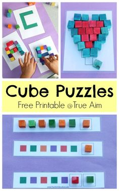 Free Cube Puzzle Printable from True Aim Education