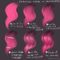 Hope it's helpful 💖 In my works I used my personal brushes for Procreate / photoshop 💚Hair brushes for eyebrows/eyelashes and hair, 💚easy… Digital Art Tutorial, Digital Painting Tutorials, Art Tutorials, Photoshop Hair, Digital Art Beginner, Hair Sketch, Affinity Photo, Drawing Tips, Drawing Hair