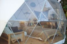 Dome Guys - California Living Dome with bay window, on wooden platform. Pictured: Bay window and interior Futuristic Party, Dome Structure, Geodesic Dome Homes, Dome Tent, California Living, Dome House, Construction, Bay Window, Glamping