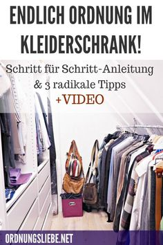 Endlich Ordnung im Kleiderschrank, eine Schritt für Schritt-Anleitung und 3 radikale Tipps, die wirklich cool sind Marie Kondo Konmari, Capsule Wardrobe, Home Hacks, Inspiration, Closets, Media Marketing, Home Decor, Women's Fashion, Interiors