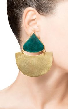 These handmade **Silhouette** earrings put a modern spin on traditional Georgian materials with dramatic geometric shapes and vibrant colors, accessories, statement earring, jewellery, unique and creative eaarings Leather Earrings, Leather Jewelry, Silver Jewelry, Modern Jewelry, Unique Jewelry, Handmade Jewelry, Jewelry Accessories, Jewelry Design, Triangle Earrings