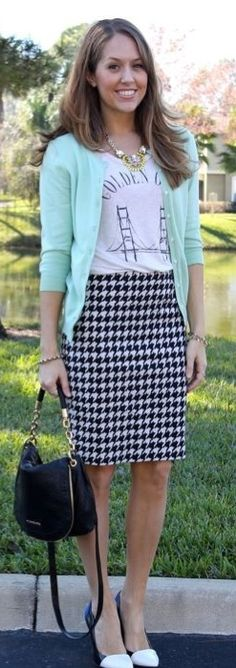 Not a huge fan of houndstooth skirt but like the idea of the outfit.