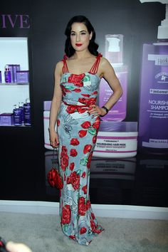 Dita Von Teese seen at the Obliphica booth During Cosmoprof convention in Las Vegas.
