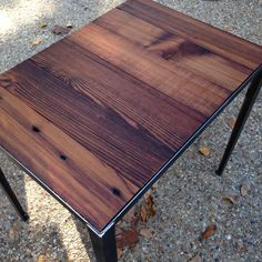 end table with angle iron base and reclaimed wood