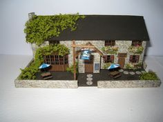 Villlage Pub, the Swan,  micro mini . A dollhouse miniature in 1/144th scale. $225.00, via Etsy.