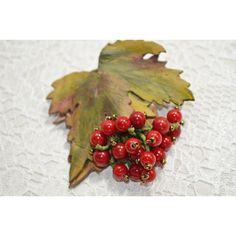 Rustic Multicolor Leather and Coral Jewelry Brooch. The Branch of... ($15) ❤ liked on Polyvore featuring jewelry and brooches