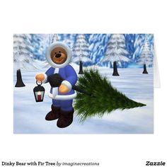 Dinky Bear with Fir Tree Card