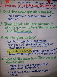 Great chart on how to respond to short answer questions.