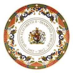 It's the Queen's Diamond Jubilee this year. We'll be celebrating with a street party. Here's a beautiful souvenir of this great event (the Jubilee, not our party)- a bone china plate, gilded in 22 carat gold and hand decorated in UK by Royal Worcester