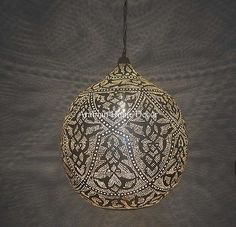 Handcrafted Moroccan Mutt Silver Plated Brass Pendant light Chandelier Lamp