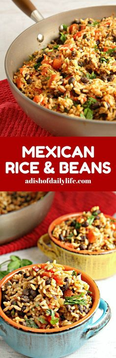 Mexican Rice and Beans Mexican Rice and Beans.an easy versatile vegetarian dish! Use it as a side dish for Mexican night, use the leftovers as a filling for burritos along with chicken or beef, or add cheese and turn it into a Mexican bake. Mexican Dishes, Mexican Food Recipes, Dinner Recipes, Ethnic Recipes, Italian Recipes, Mexican Beans And Rice, Black Beans And Rice, Vegetarian Dish, Vegetarian Recipes