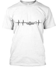 Trumpet In My Heart (Black Outline) White T-Shirt Front