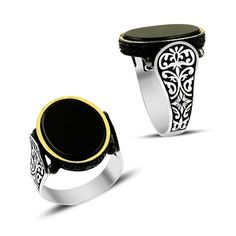 Black onyx stone ring 925k sterling silver by ConstantinopleJewel