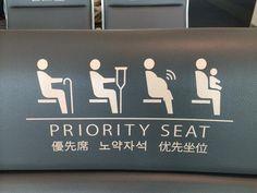 Sitio prioritario para cojos, lesionados, personas con bebes y ¿embarazadas con wifi?