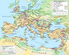 Plano de las calzadas romanas en torno al 125 dC