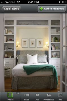 Small bedroom/office idea.  Put shelving/drawers with window in center and desk space below window