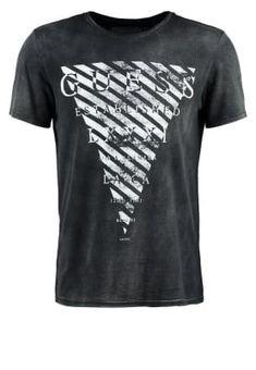 Guess USA T Shirt Logo Print in Red & Black Depop