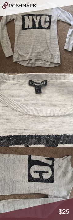 Express bling NYC top Size small long sleeve top from express. Fabric is very giving with black bling saying NYC Express Tops Tees - Long Sleeve