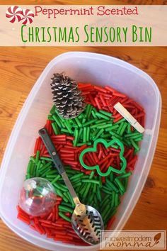 Try one of our Christmas themed sensory bin ideas for toddlers to elementary aged. Scented with yummy peppermint and filled with colored pasta. Toddler Sensory Bins, Baby Sensory Play, Toddler Fun, Toddler Crafts, Infant Crafts, Toddler Teacher, Baby Crafts, Preschool Christmas Activities, Sensory Activities