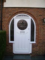 Veka Composite Door in Arched Frame with Bespoke Glazed Surround