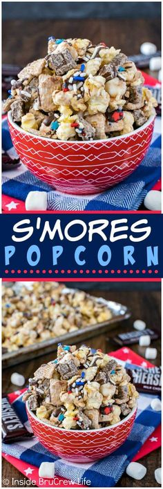 S'mores Popcorn - chocolate covered popcorn loaded with more chocolate, marshmallows, and graham cereal chunks. Awesome no bake dessert to munch on during movies!
