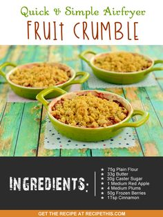 Welcome to our quick and simple fruit crumble recipe. Even though I like apple pie in the airfryer it is lower down the list of favourite recipes compared to the apple crumble. I just love apple crumble. The first time we ever had it was back at school. It was the first thing that we were taught how to cook at school and nothing gets remembered more than the first thing you ever made. When we used to do cooking at school it was always a case of carrying around all those measured out…