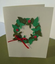 Greenery Wreath Holiday Card--Set of 4. $8.00, via Etsy.