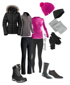 """Winter Hiking"" by looksbya on Polyvore featuring Pearl Izumi, The North Face, Under Armour, Mountain Hardwear, Columbia, Darn Tough, Asics, Marmot, Coal and snow"