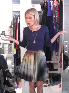 Kelly Ripa in a Marco de Vincenzo skirt and Malo top. LIVE with Kelly and Michael Fashion Finder.