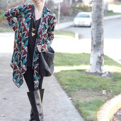 Styling the Tribal Cardigan from the November Magnolia Post Co Collection, Pair it with a Simple Black Outfit for Effortless Style! Simple Black Outfits, Tribal Cardigan, Fall Lookbook, Magnolia, Kimono Top, Pairs, Chic, November, Collection