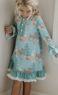 Girls Woodland Christmas Lounge Gown & Shorts Set 2 to 14 Years