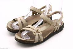 TEVA womens sandals Size 8 tan leather ankle strap sport sandals dress #Teva #SportSandals