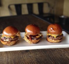 Mini Burger #Sliders with Cheddar, Shredded Onion Strings, Gus's Original #BBQ Sauce and Roasted Garlic Aioli. #yum #yesplease  with Cheddar, Shredded Onion Strings, Gus's Original BBQ Sauce and Roasted  Garlic Aiol