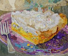 Lemon on Lavendar  20x24  collage of hand painted paper on panel  Grand Bohemian Gallery