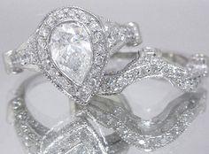 14k white gold pear shape cut diamond bezel by asparklingworld, $4755.00