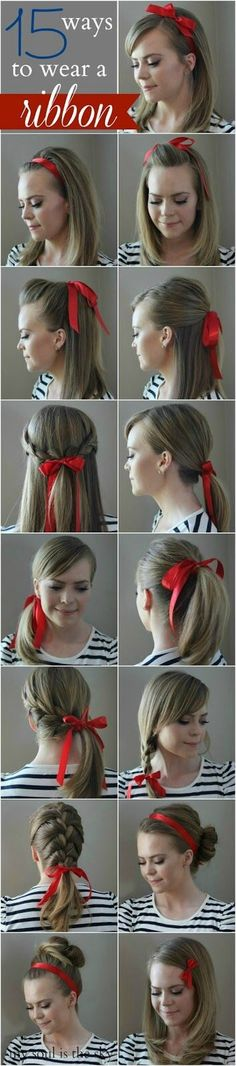 Red ribbon hairstyles