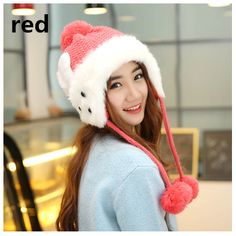 girl rabbit knit hat hairball bomber hat for winter