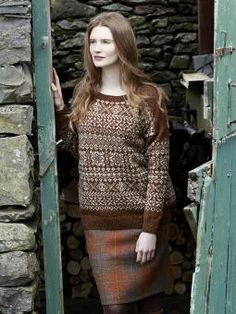 Windermere - Knit this ladies two colour fairisle sweater from Windswept. Designed by Marie Wallin using our lovely Yorkshire yarn Rowan Fine Tweed (wool...