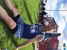 Adrian chilling after the Great North Run (that's our cheer bus!)