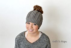 Free Crochet Pattern - Crochet Cable Messy Bun Hat (Adult Sizes) (video tutorial included)